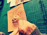 《看风景的猫咪》皮塑作品