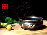 传统龙窑柴烧全手工黑釉钵