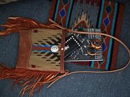 集点手作坊 手工皮具 纳瓦霍印第安美国进口羊毛毯子挎包 流苏包