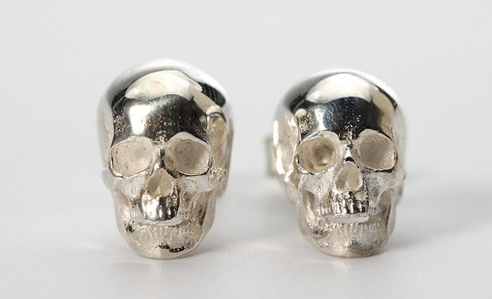 偶屿925纯银骷髅耳钉