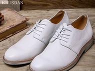 系带低帮鞋真皮英伦透气软皮皮鞋男士秋季休闲白色皮鞋子