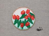 手工杯垫【红掌】,看看花,喝喝茶吧~