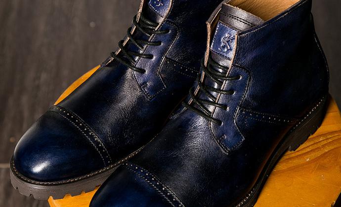 固特异男士潮靴尖头系带手工擦色做旧真皮英伦骑士马丁靴男靴