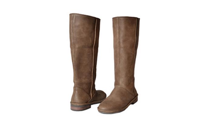 hanalice mori系列 复古风纯手工高筒靴(灰棕色)