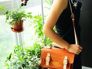 罐手作 手染茶色植鞣革手缝单肩/小提包 两用包