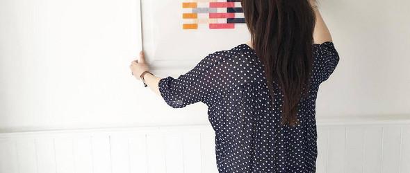 清新的几何图案刺绣挂画:新西兰设计师 Jane Denton 的刺绣作品