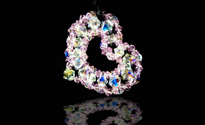 奥地利施华洛世奇水晶 纯手工编制 心形项链