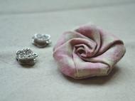 小小布艺玫瑰花发卡 头饰 粉色格子