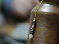 柒言原创设计款 18k真金 配和田青白玉籽料和老琉璃管 手工定制
