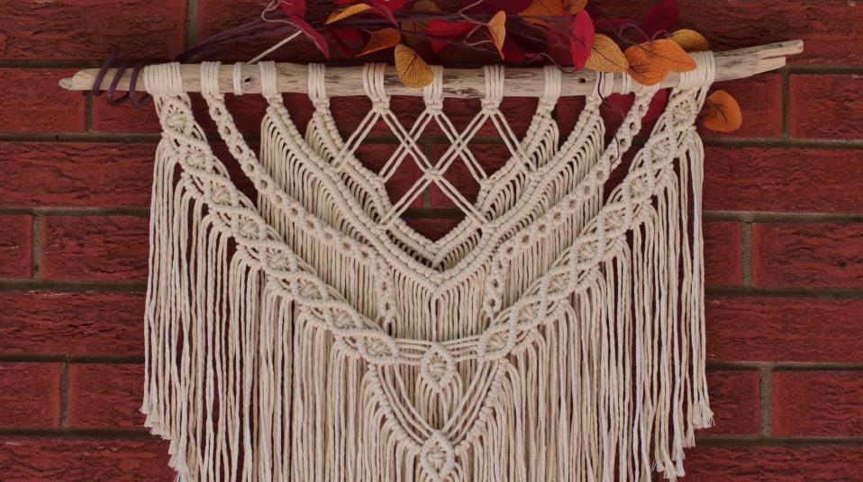 Macrame编织视频教程:中等难度的绳编挂毯编织教程(Part 2)