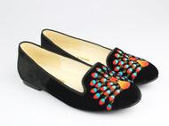 孔雀手绣真丝绒平底时装鞋 平跟单鞋 纯手工刺绣 设计师品牌