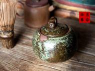 传统龙窑柴烧全手工粗陶猪钮茶叶罐