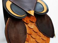 纯手缝猫头鹰双肩单肩两用包
