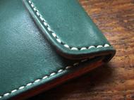 手缝双层植靶绿色牛皮小钱包卡包