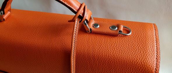 手工皮革制作教程:仿爱马仕橙色皮革公文包手工制作完整过程(下半部分)
