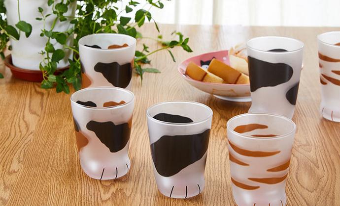 日本进口石冢硝子coconeco猫足杯磨砂玻璃杯