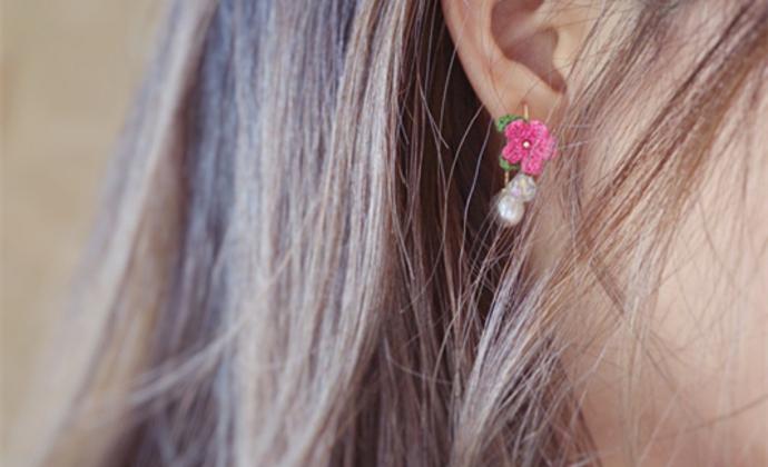【编织花朵梦】楠楠小张漫生活手工编织耳环女简约耳钉清新耳坠