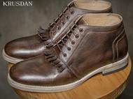 秋上新英伦复古圆头系带真皮男士流苏马丁靴