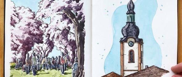 旅途的风景与建筑 | 艺术家  Danny Hawk 的水彩剪贴薄