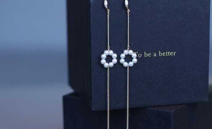 MQ奎妮小姐 小可爱花朵天然珍珠长耳线/耳钉