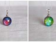 【森姑娘家】手绘 双面星空宝石 项链 2厘米 夜空中最亮的星