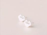 valentina S925纯银 素银拉丝平安吉祥小锁耳钉简约款欧美范 生日礼物