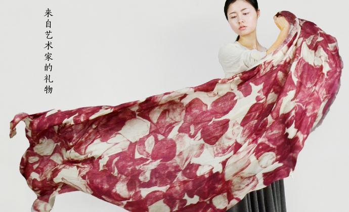 川朴艺术设计红玫瑰100%纯羊毛围巾