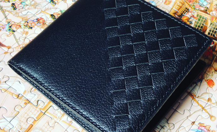 纯手工缝制法国山羊皮横款短夹 手工编织短夹钱包