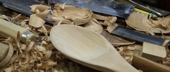 非专业木雕工具制作一把木勺的过程