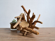 居慢生活 纯手工木质花盆景观摆件实木花器田园迷你多肉盆栽创意