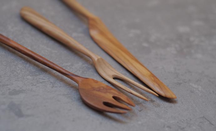 【之外】手工制橄榄木正餐叉+水果叉+黄油刀一套3把