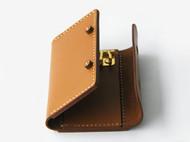 手缝棕色牛皮多用钥匙包
