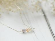 14K包金三色天然珍珠优雅气质锁骨链项链