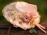 布艺蕾丝花边小帽子水晶头饰头花发饰品可爱唯美发夹边夹原创手工