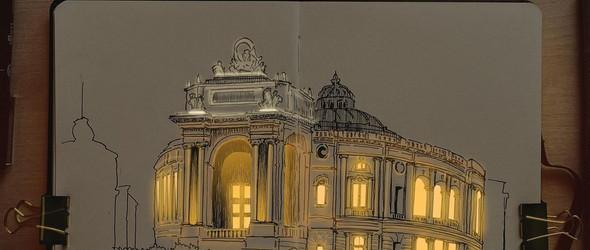 手绘建筑里的温暖灯光 |Nikita Busyak