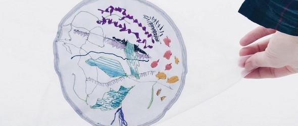 薄纱上的刺绣手绘|Yuri Miyazaki