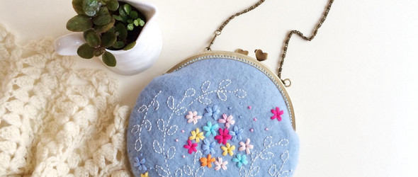 羊毛毡+刺绣 blooming