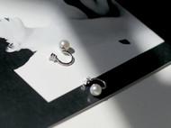 MQ奎妮小姐 坏女孩/天然珍珠925纯银锆石两戴耳夹