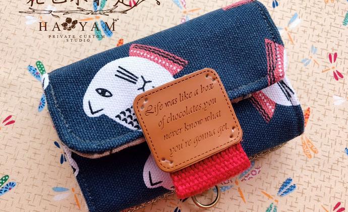 猫猫头钱夹卡夹 小巧容量大  手工定制 帆布口金钱包