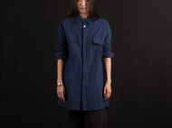 植物蓝染indigo宽松工装版长袖女衬衫