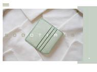 5000TIMES'手工皮具-片叶系列 钱包 卡包 植鞣牛皮-薄荷绿