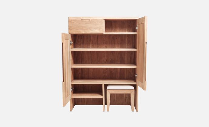 静研设计北欧简约日式有凳鞋柜红橡木胡桃木实木家具榫卯结构