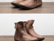 守根手工鞋 34.5-42尺码 赠吸汗手工鞋垫清洁剂 侧拉链软底套脚女士短靴