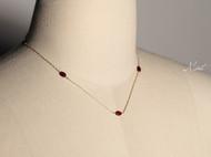 【Mint】手作14K包金酒红石榴石纤细锁骨链项链优雅气质
