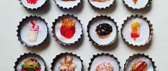 艺术家Chloe Amy Avery的刺绣美食