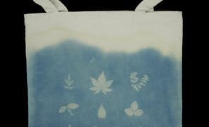 蓝晒帆布袋第三号作品。正面的图