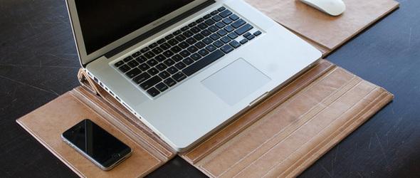 GreenCase:皮革(瓦楞纸)笔记本电脑保护套+工作站二合为一的设计