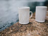 器十二原创 手工刻线陶瓷马克杯、咖啡杯、情侣水杯