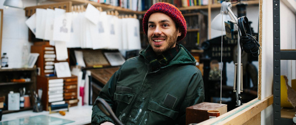 英国版画师Ben Goodman与他的怀旧木雕版画工作室