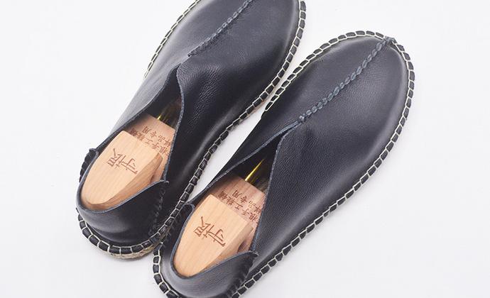 手工男鞋 偏小真皮套脚渔夫鞋